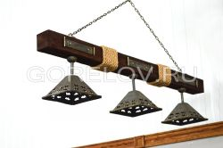 "Chandelier ""Wooden beam with ropes""  on 3 plafonds L-1500 h-350 (Height without suspension)  (Approximate sizes)"