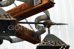 "Chandelier ""Castle"" with a wooden base 4 elements L-1120 h-290 (Height without suspension) (Approximate sizes)"