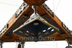 Wooden triangular chandelier L-1200 h-300 (Height without suspension) (Approximate sizes)