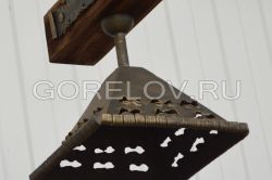 "Chandelier ""Wooden beam with ropes"" small on 2 plafonds L-1000 h-300 (Height without suspension) (Approximate sizes)"